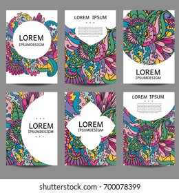 Vector abstract brochures in zentangle,doodle style. Vector design templates vintage frames and backgrounds. Use for printed materials, signs, elements, web sites, cards,notebook, book.