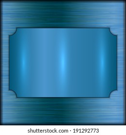 vector abstract brushed blue award plate on blue background