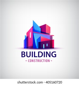 Vector abstract building colorful logo, icon isolated. Transparent geometric structure sign, architecture logo, sign. Real estate, city, town house