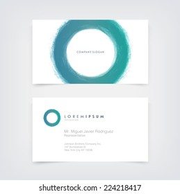 Vector abstract business card design template with hand painted circle logo