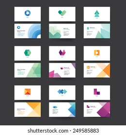 Vector abstract business cards. Colorful templates for business cards. Editable vector graphic. Collection of nine.