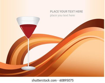 Vector abstract card design. Glass of wine