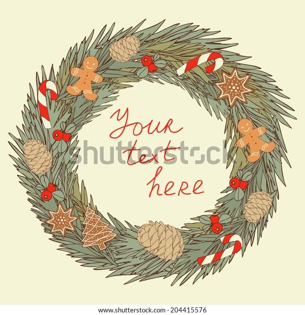 Vector abstract card. Winter holidays card. Christmas wreath