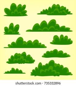 vector abstract cartoon doodle bush grass drawing illustration template collection set green pack