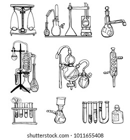 Vector abstract chemistry or physics lab icons set illustrating research and development or laboratory experiments. Hand drawn.