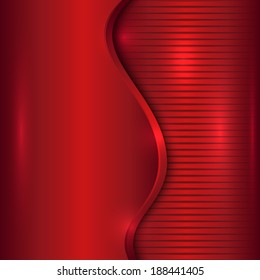 Vector abstract cherry red metallic background with curve and stripes
