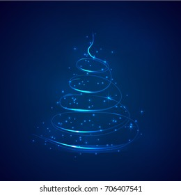 Vector Abstract Christmas tree with sparkles