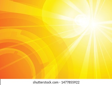 Vector : Abstract circle with lens flare on yellow background