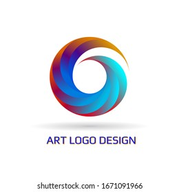 Vector abstract circle swirl logo design elements. Spiral symbol in line art style. Rainbow isolated pattern on white background