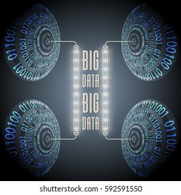 Vector abstract circles with binary code and the words big data