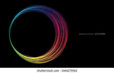 Vector abstract circles lines round frame colorful rainbow isolated on black background with empty space for text