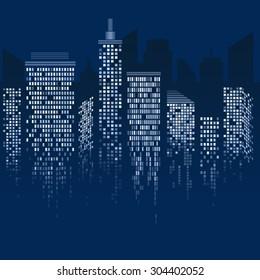 Vector abstract city at night in dark blue tones