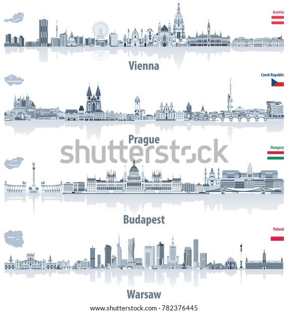 Vector Abstract City Skylines Vienna Prague Stock Vector