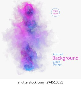 Vector abstract cloud. Vector illustration of blue and pink smoke on white background. Abstract banner paints. Background for banner, card, poster, poster, identity, web design