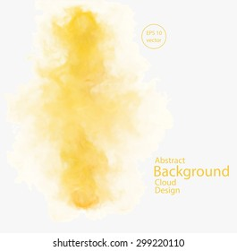Vector abstract cloud. Vector illustration of chemical yellow smoke on white background. Abstract banner paints. Background for banner, card, poster, identity, web design
