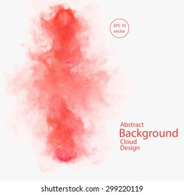 Vector abstract cloud. Vector illustration of chemical red smoke on white background. Abstract banner paints. Background for banner, card, poster, identity, web design