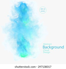Vector abstract cloud. Vector illustration of green and blue smoke on white background. Abstract banner paints. Background for banner, card, poster, identity, web design