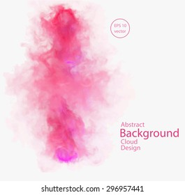 Vector abstract cloud. Vector illustration of red and pink smoke on white background. Abstract banner paints. Background for banner, card, poster, identity, web design