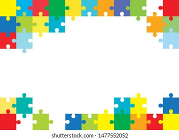 Vector Abstract colorful background made from orange puzzle pieces and place for your content.