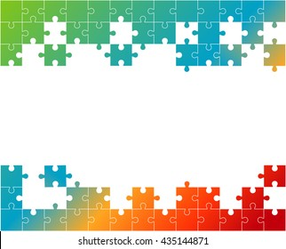 Vector Abstract colorful background made from white puzzle pieces and place for your content