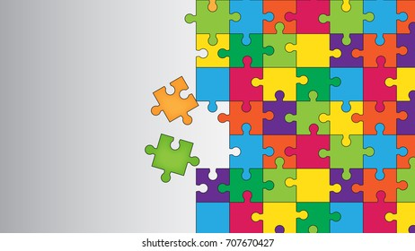 Vector Abstract colorful background made from puzzle pieces and place for your content