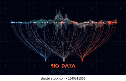 Vector abstract colorful big data information sorting visualization. Social network, financial analysis of complex databases. Visual information complexity clarification. Intricate data graphic.