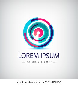 vector abstract colorful circle loop logo, icon isolated