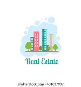 vector abstract colorful city, building composition sign, icon, logo isolated, real estate building icons