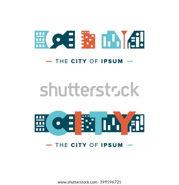 Vector abstract colorful city logo, building composition sign, icon, isolated