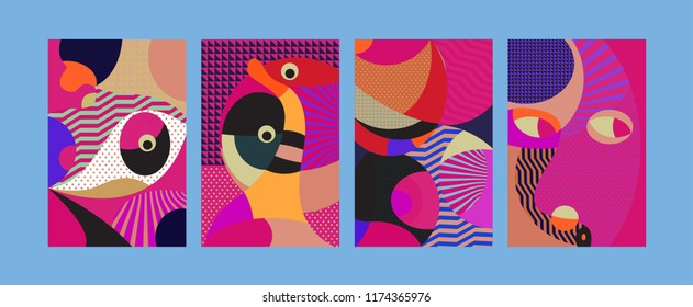Vector Abstract Colorful Geometric and Curvy pattern background illustration. Set of Abstract Tribal Ethnic background for Cover, Poster, and print in Eps 10.