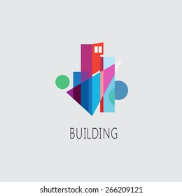 vector abstract colorful icon building and logo, building composition sign