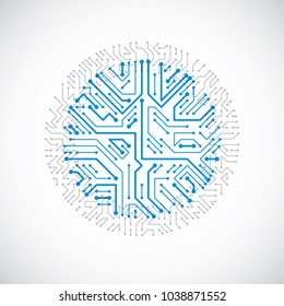Vector abstract colorful technology illustration with round blue circuit board. High tech circular digital scheme of electronic device.