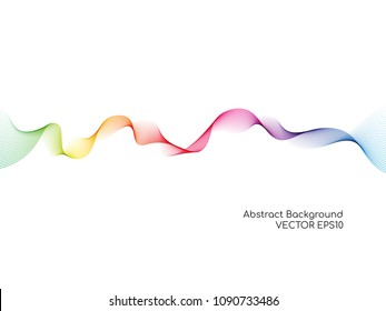 Vector of abstract colorful wave lines flowing isolated on white background for design elements or separator in concept of technology, science, music or modern.
