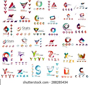 Vector abstract company logo mega collection, typography letters and other elements, waves, lines. Various universal icon set for any idea