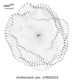 Vector abstract composition made of particles and wireframe. Concept design of digital data array, signal.