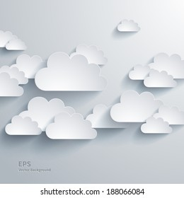 Vector abstract composition with paper clouds