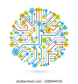 Vector abstract computer circuit board illustration, circular technology element with connections. Electronics theme web design.