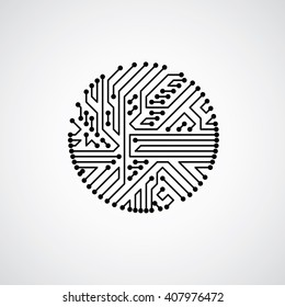 Vector abstract computer circuit board illustration, monochrome round technology element with connections. Electronics theme web design.