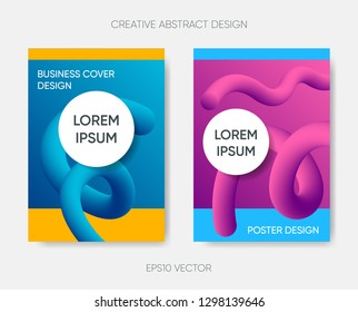 Vector abstract cover design gradient fluid liquid shapes