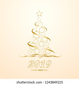Vector Abstract cover Golden Christmas Tree, with text 2019 Happy New Year