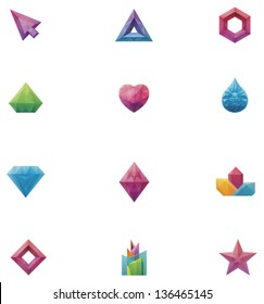 Vector abstract crystal icon set. Includes crystallized triangle, hexagon, diamond, heart, water drop, star and other shapes