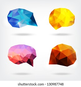 vector abstract crystal speech bubbles or banners