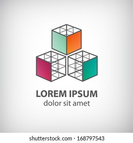 vector abstract cube construction made of 3 logo for company isolated