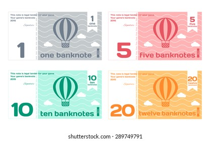 Vector Abstract Cute Color Banknote Templates Set 1 in Flat Style Isolated on White Background