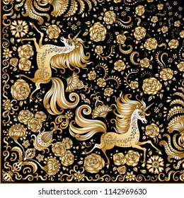 Vector abstract cute unicorn golden print on a black background.Floral fantasy pattern, hand drawn flowers, leaves.Quarter scarf, to get the whole shawl should be rotated around the upper right corner
