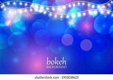 Vector abstract dark bokeh background . Design winter Christmas holiday background with glitter and glitter.