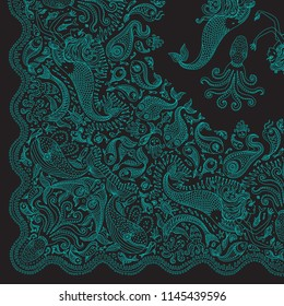 Vector abstract dark green mermaid print on a black background. Turquoise Paisley pattern, hand drawn fish, fantasy sea animals. Quarter scarf, shawl should be rotated around the upper right corner