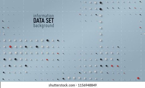 Vector abstract data sorting visualization background. Big data. Sorted data as tiny spheres. Information analytics concept. Filtering machine algorithms. Vector technology background. Trendy cover