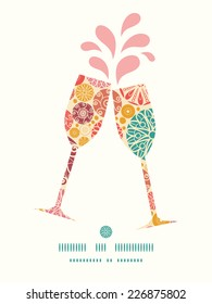 Vector abstract decorative circles toasting wine glasses silhouettes pattern frame