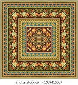 Vector abstract decorative floral ethnic  ornamental illustration. Square background